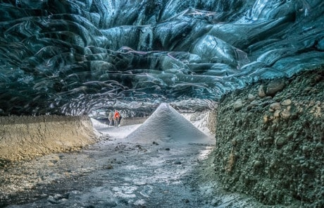 Blue ice cave tunnel