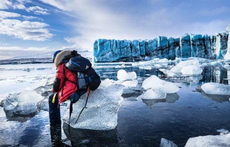 View over Jokulsarlon glacier lagoon